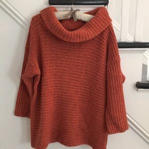 Orange and Black funnel neck sweater